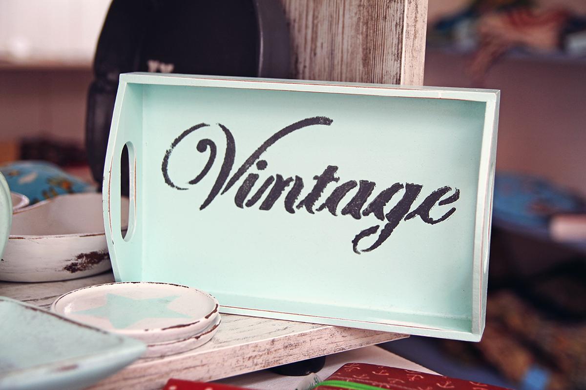 Vintage-Tablett-glückswerk-kiel