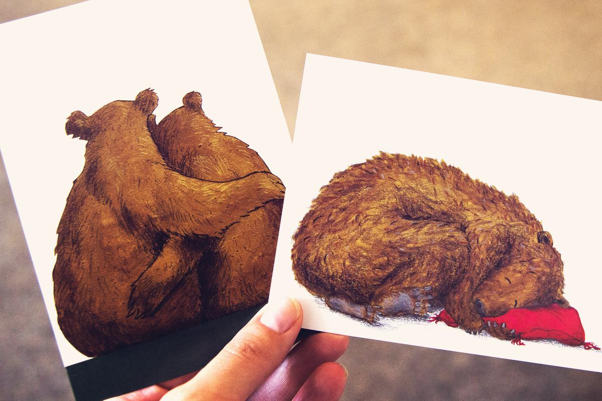 Baeren-Postkarte-Zeichnung-Buchhandlung-Almut-Schmidt