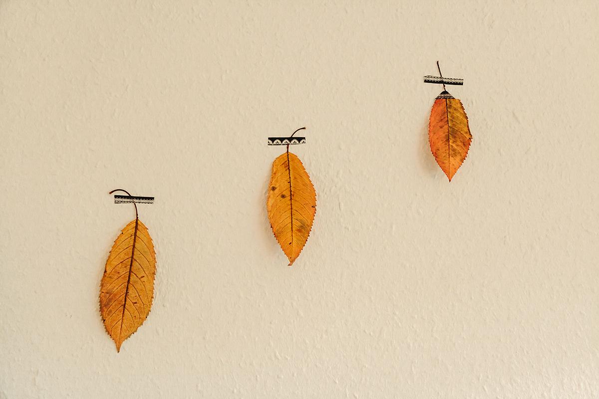 Blätterdeko Wand