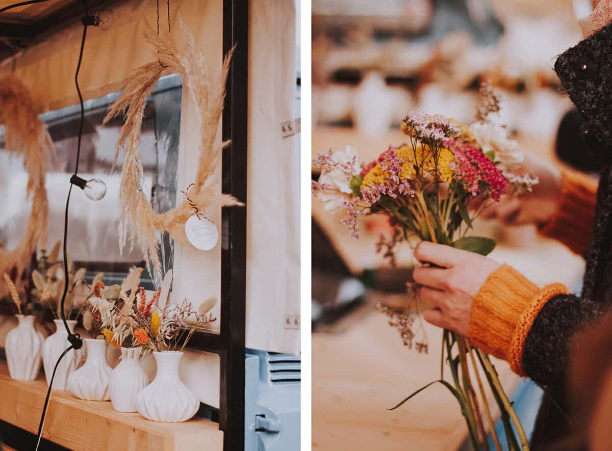 Verkaufsfläche und Blumenstrauß