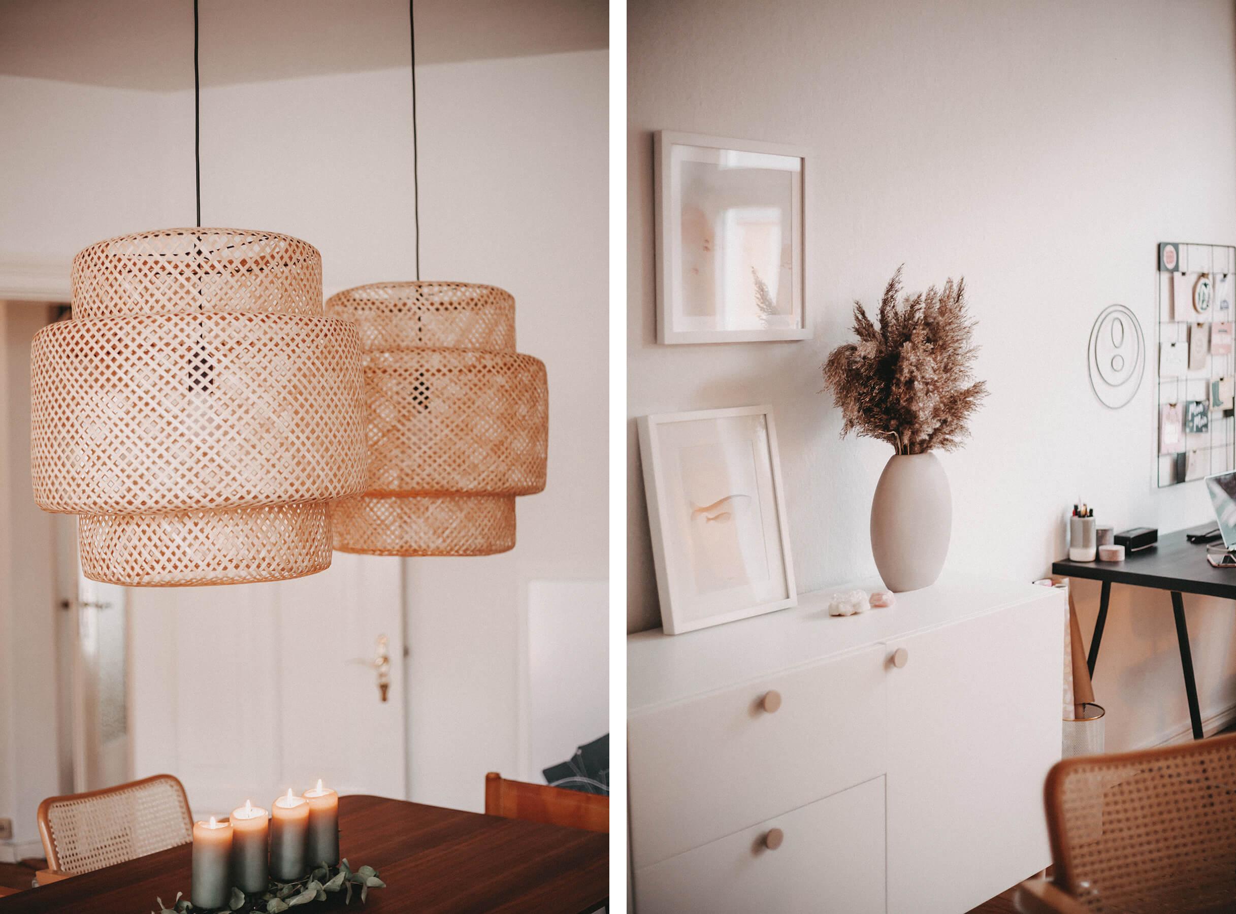 Nina von @nina_ninosy, Detailaufnahme: Korblampen, Vase
