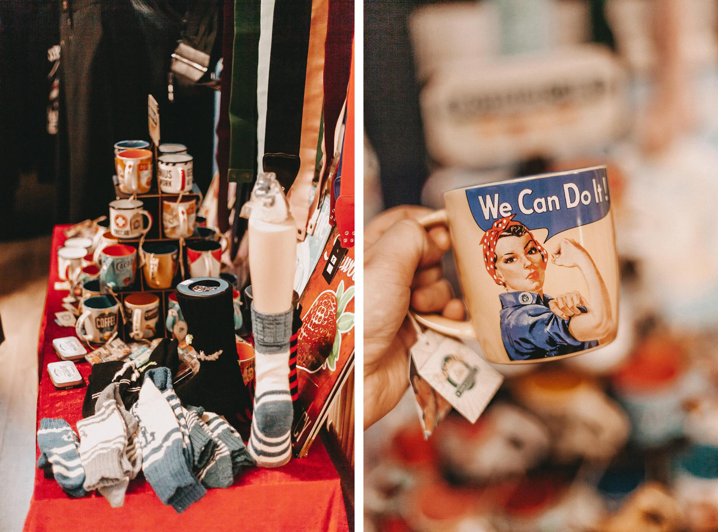 Tassen und Socken im Vintage-Stil