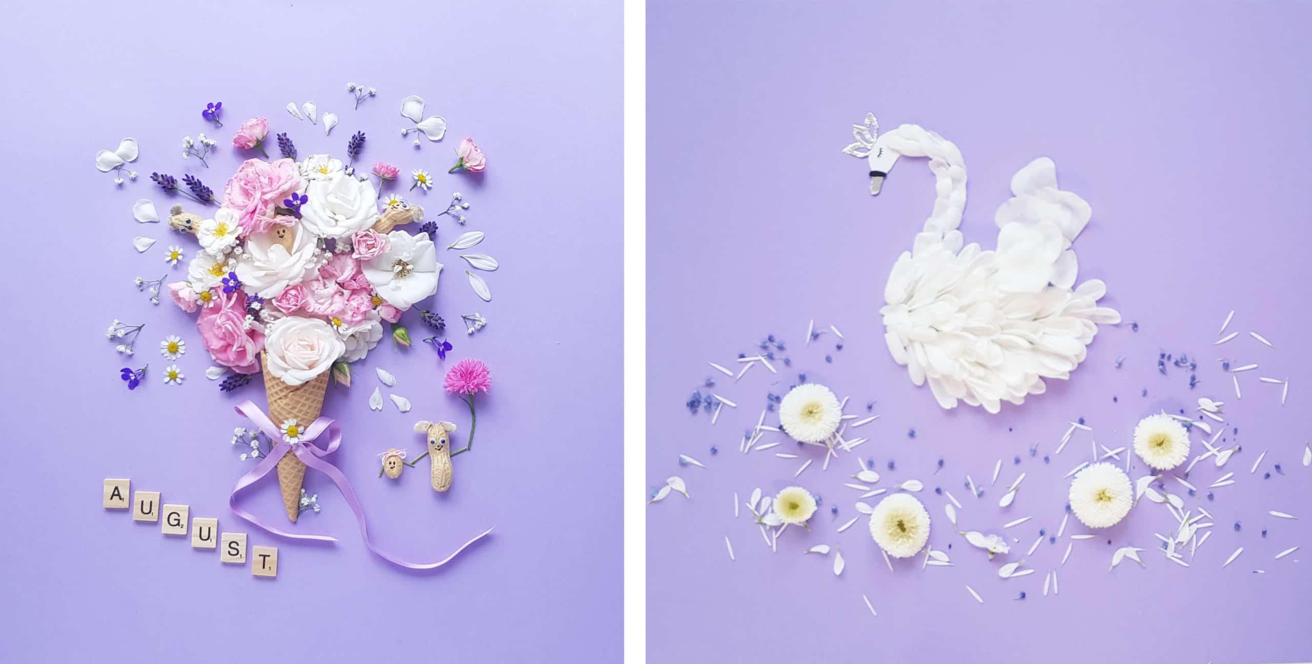 Smettikage: Eis und Schwan aus Blumen