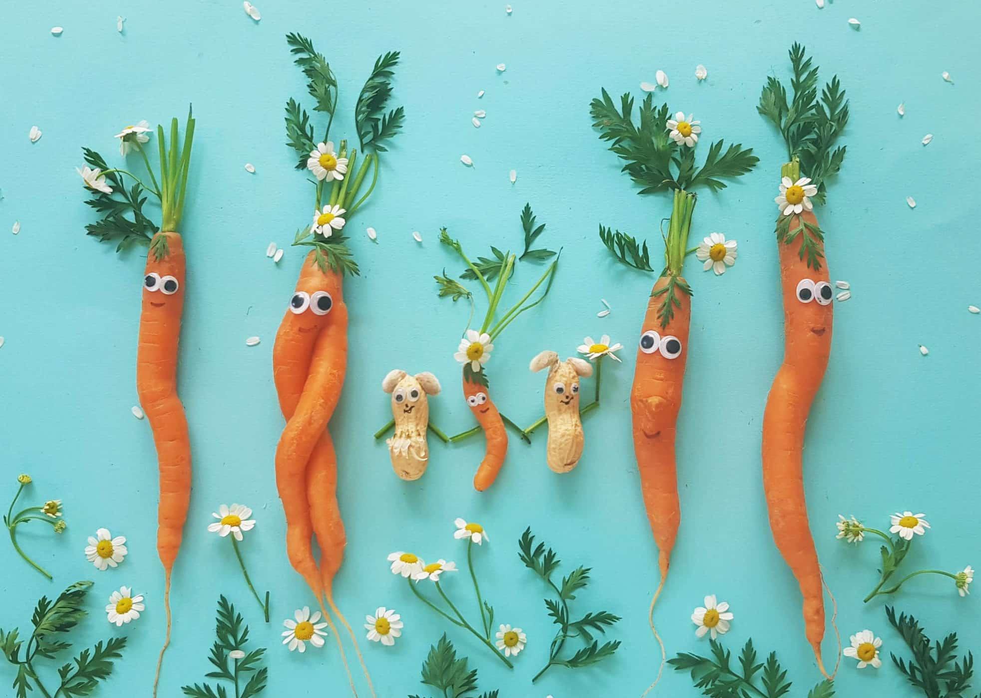 Gemüse und Erdnüsse als Motiv