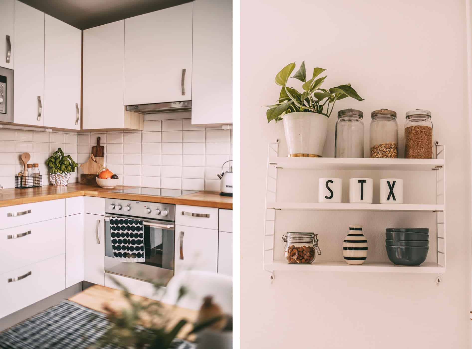 Küchenecke und Wandregal