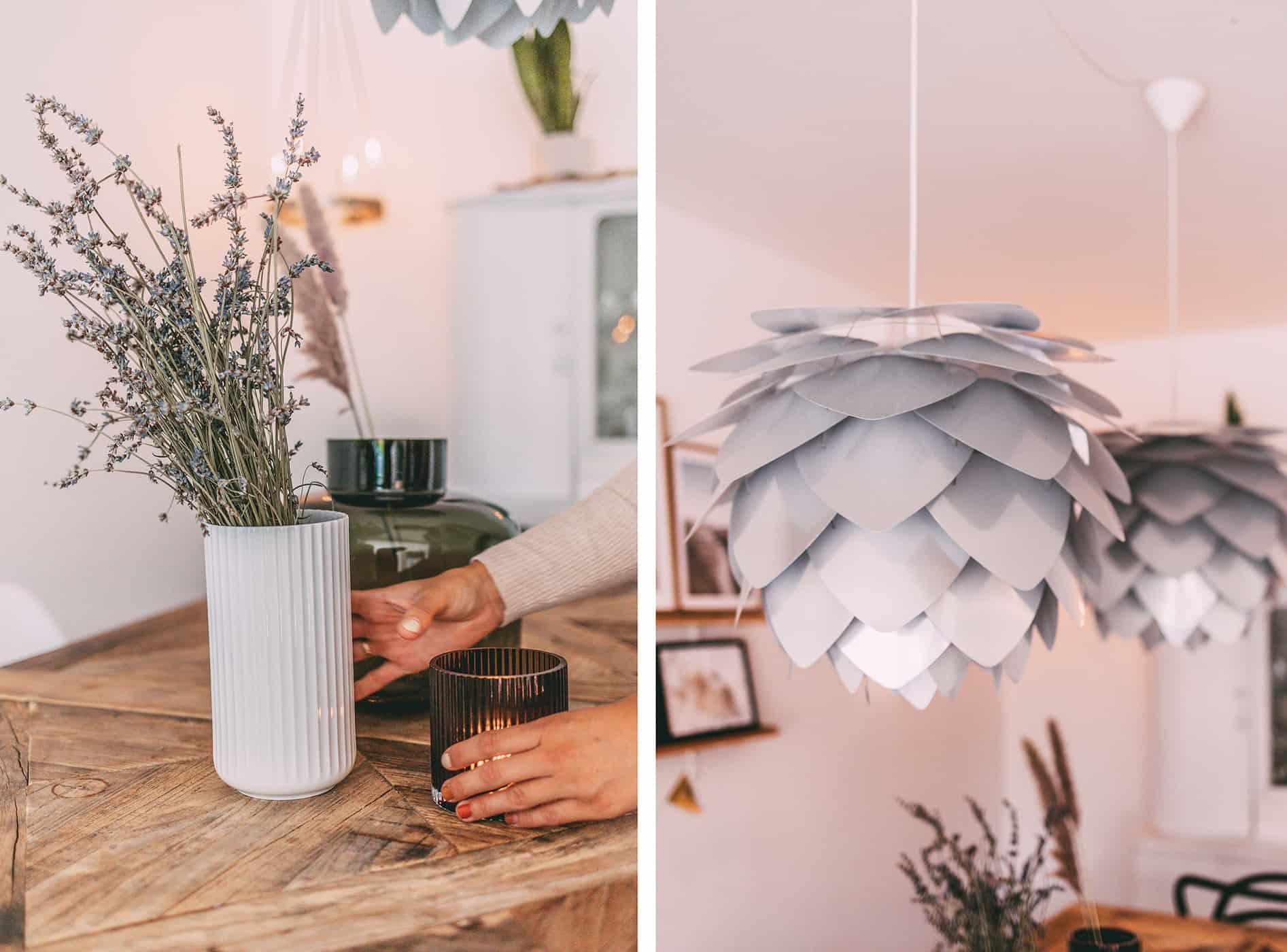 Blumenvase und Lampe