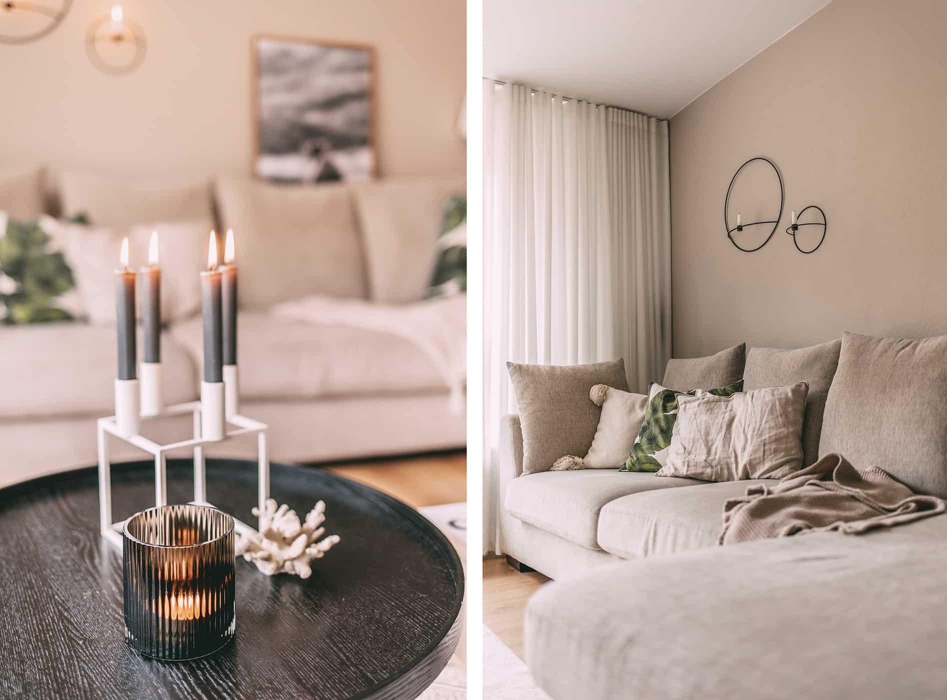 Kerzenständer und Couch