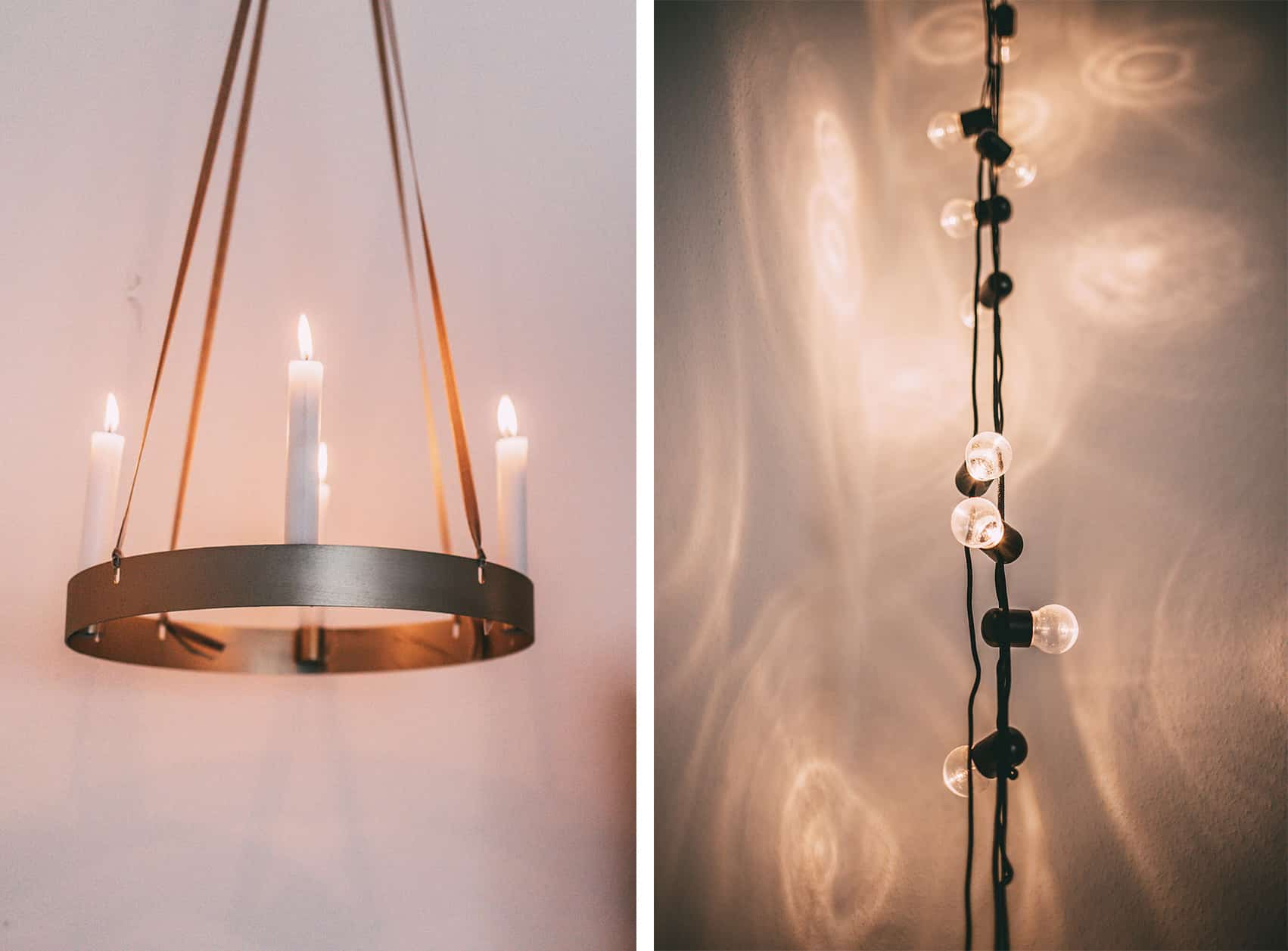 Kerzenleuchter und Lichterkette
