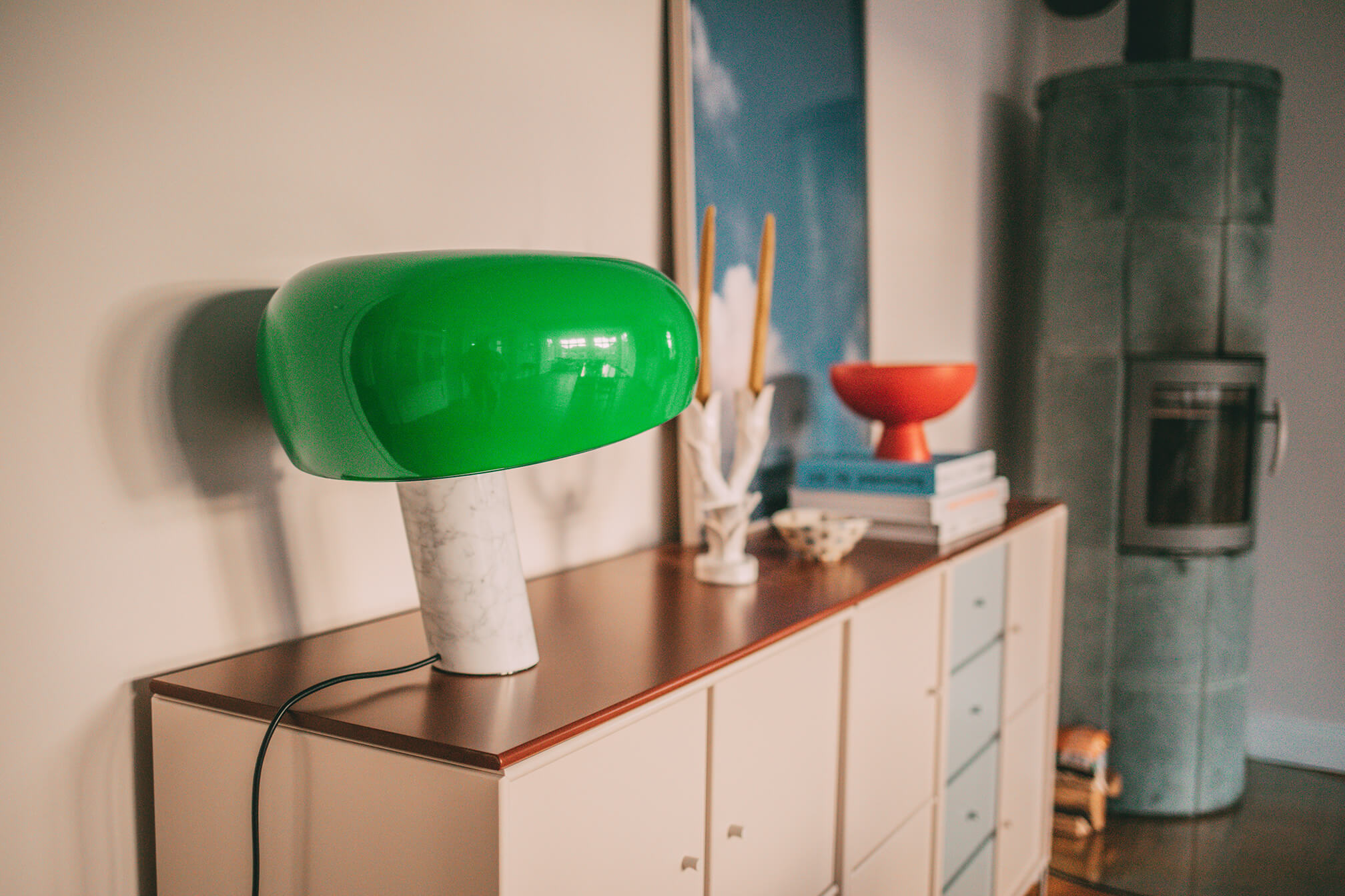 Grüne Lampe im Esszimmer
