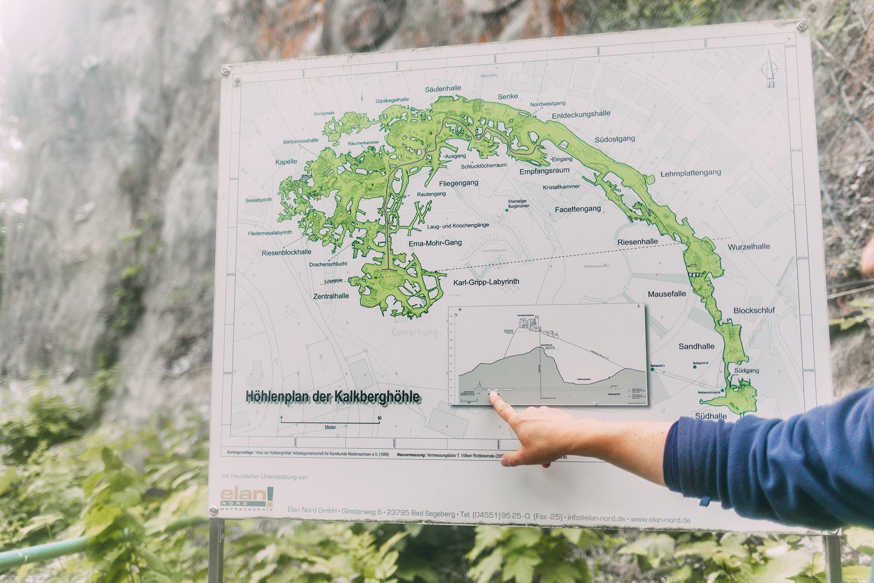 Karte Höhlenplab Kalkberg